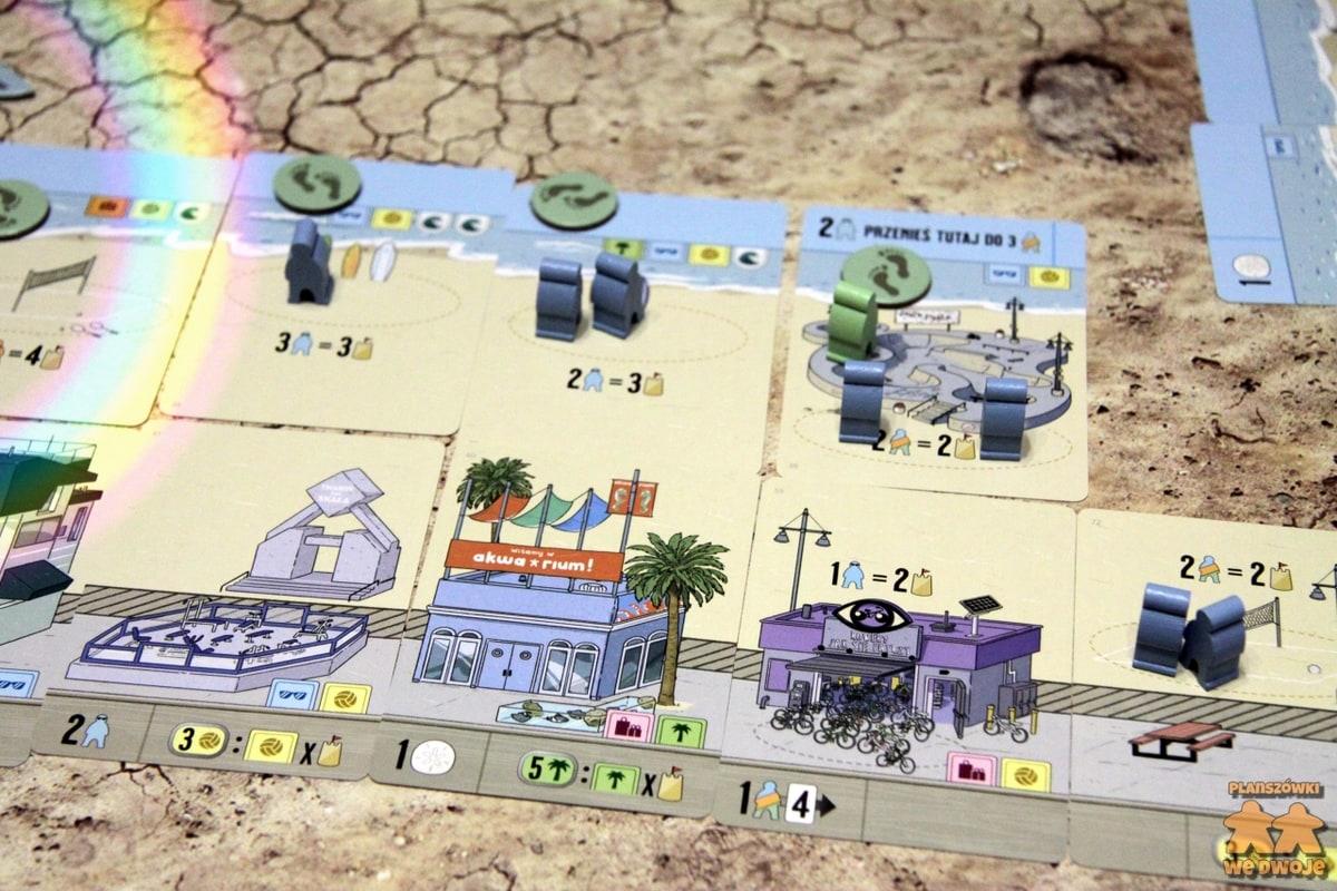 Santa Monica karty tworzące plażę i bulwar wraz z meeplami.